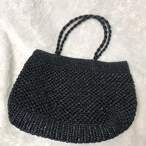 Sax 5th Avenue black straw handbag tote